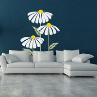 Loves me, loves me not, set of daisies wall decal, vinyl decal, wall art