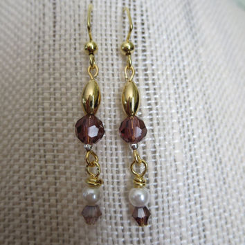 Earrings Fresh Water Pearl Faceted Purple Beaded Gold Long Dangle Pierced Earrings Women Evening Elegant Boho Bohemian Casual Jewelry