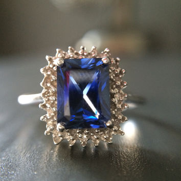 Created Sapphire 1.65 ct Stone Ring - Size 7
