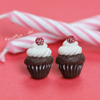 Chocolate Raspberry Cupcake Studs / Post Earrings, Miniature Food Jewelry