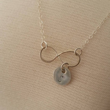Infinity initial necklace, Sterling silver infinity initial necklace, Personalized infinity necklace, Bridesmaid necklaces, Gift for Mom