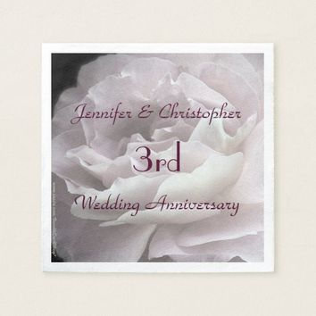 Pink Rose Paper Napkins, 3rd Wedding Anniversary Napkin