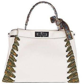 Fendi Women's Leather Handbag Shopping Bag Purse Peekaboo Regular Beige