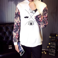 The new Harajuku embroidery bf wind round neck sets of long - sleeved sweater women 's long - sleeved sportswear installed classes