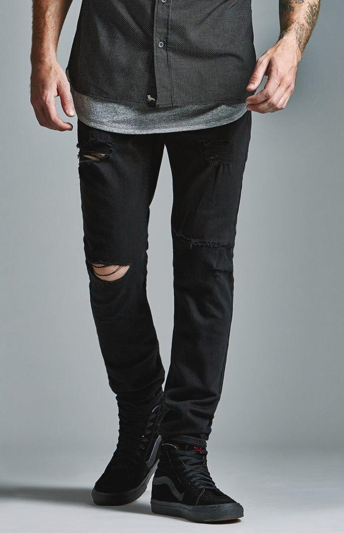 Bullhead Denim Co. Black Ripped Skinny Jeans - Mens Jeans - Black 49824e2ea97f