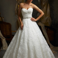 Blu by Mori Lee 5115 Lace Strapless Sweetheart A-Line Wedding Dress