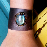 Upcycled leather Labradorite Corset Tie Cuff by SpiritTribe