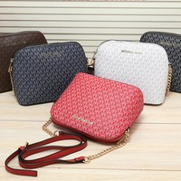 """Michael Kors"" Fashion Classic Letter Print Metal Chain Single Shoulder Messenger Bag MK Women Shell Bag"