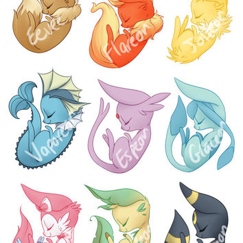 Pokemon Stickers Eevee Evolutions - 9 Sticker Set
