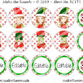 Editable Elves Christmas Ornament Set - 1 inch Circle Bottle Cap Image - 4x6 and 8.5x11 Digital Collage Sheet (No. BC171) - Instant Download