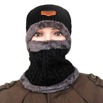 Winter Women Men Solid Color Skullies & Beanies Fur Wool Thick Warm Knit Cap Ski Hat scarf Set Head mask Cap