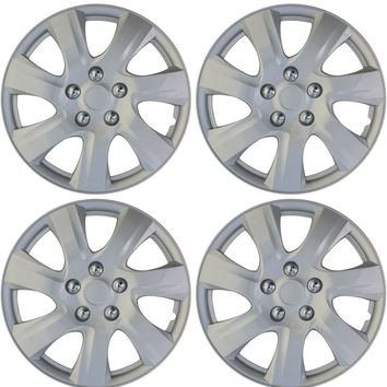 "4 pc HubCaps ABS Silver 16"" Inch Rim Wheel Universal Cover Hub Caps Covers Cap"