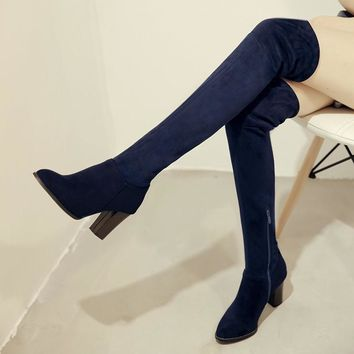 Faux Suede Sexy thigh high boots Women over the knee boots Ladies Autumn Spring High h