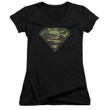 Superman - Camo Logo Junior V Neck Officially Licensed Apparel