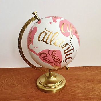 Painted globe, hand painted world globe, hand painted globe, travel globe, pink and white, nursery decor, office decor, dorm decor