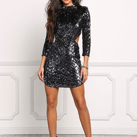 Black Sequin Back Cut Out Bodycon Dress