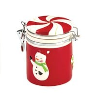 Snowman Design Small Ceramic Candy Jar