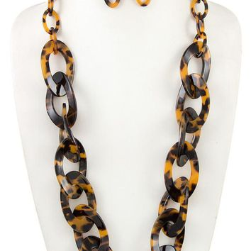 Long acetate chain like link necklace set