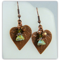 Antiqued Copper Leaf Earrings - Turquoise Olivine Flower
