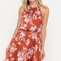 Floral Satin Halter Dress