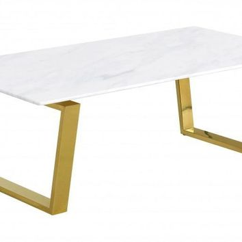 Cameron Gold Coffee Table Genuine Marble Top