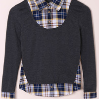 Turn-down Collar Long Sleeve Spliced Plaid Faux Twinset Shirt