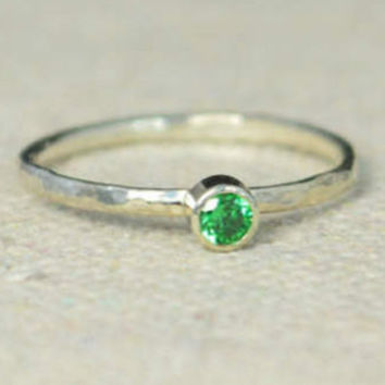 Classic Sterling Silver CZ Emerald Ring