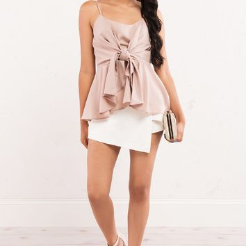 Peplum Blouse with Front Tie and Thin Straps