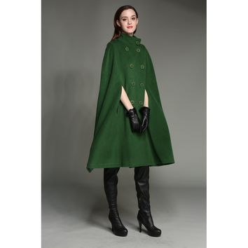 Plus Size Green Military Coat
