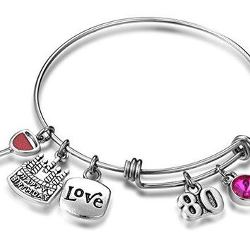 Birthday Gifts for Her Expandable Bangle Bracelet W Birthstone Charm for Women Girls Best Friend 80th