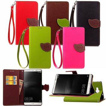 For Huawei Mate 7 Mate 8 Mate S Luxury Leather Cover Flip Wallet Phone Case With Leaves Buckle And Lanyard Mobile Phone Shell