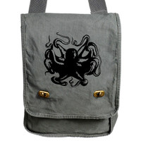 Octopus Messenger Bag Gray Canvas Messenger Field Bag Laptop Bag