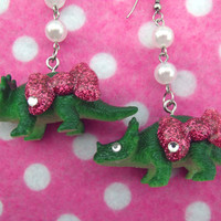 Hello Kitty Rhinestone Dinosaur Earrings