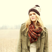 Brown Plaid Infinity Scarf - circle scarf, eternity scarf, loop scarf, tube scarf, fall fashion, hipster