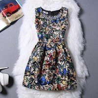 Beige Floral Butterfly Print Pleated Rhinestone Round Neck Mini Dress