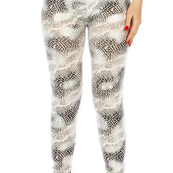 Snake Liquid Look Textured Leggings in 4 Colors One Size Fits Most