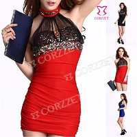 Sexy Halter Neck Sequined Summer Dress Christmas Holiday Party Dresses For Women Vestido de festa