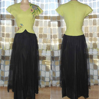 Vintage 30s 40s Gown | 1930s Formal Dress | Hand Painted Linen Bodice | Taffeta & Tulle Sweep | Chartreuse Black | For Study/ Theater/ As-is