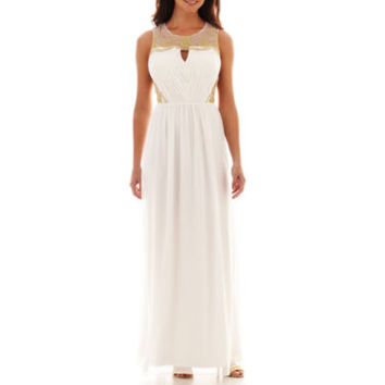 Simply Liliana Sleeveless Illusion-Neck Chiffon Wedding Dress