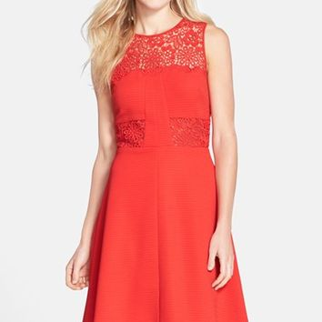 Women's Julia Jordan Lace Insert Ottoman Fit & Flare Dress
