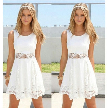 2015 Summer Women's Elegant Sleeveless White Lace A-line Dress = 1932737668