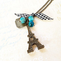 Vintage Paris Necklace - Eiffel Tower Pendant - Gingham Ribbon - Long Brass Necklace - France Paris - Shabby Chic -  Dog Tag Necklace -