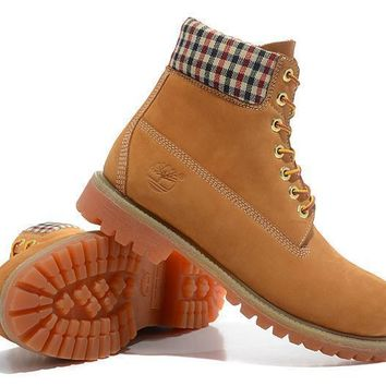 Timberland Icon 6-inch Premium with Plaid Uppers Wheat Waterproof Boots