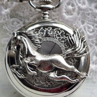 Horse pocket watch, mens pocket watch with running horse mounted on front case in silver