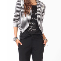 Open Front Striped Blazer