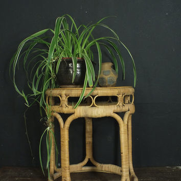 Vintage Round Bamboo Wicker Small Side Table // Plant Stand