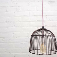 Industrial Upcycled Hanging Cloche Wire Metal Bird Cage Lamp Light with Mirrored Bub