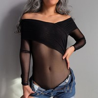 T-shirts Winter Long Sleeve Women's See Through V-neck Lace Slim Tops Bottoming Shirt [100110237711]