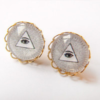 Illuminati Post Earrings - All seeing eye - masonic mystical mystic - evil eye - religious eye of providence
