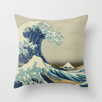 The Classic Japanese Great Wave off Kanagawa by Hokusai Throw Pillow by podartist